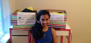Vaishnavi and her classmates gathered school supplies